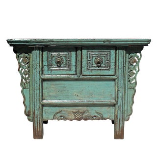 Chinese Vintage 2 Drawers Carving Distressed Gray Blue Side Table Cabinet For Sale