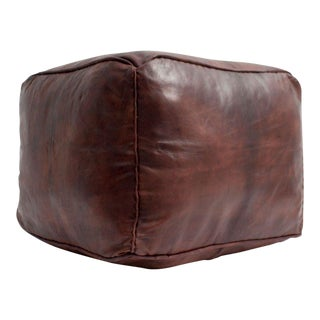 1990s Vintage Moroccan Chocolate Leather Plain Square Pouf For Sale