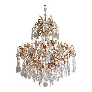 Beaded Crystal Chandelier Antique Ceiling Lamp Florentiner Lustre Art Nouveau Pink For Sale