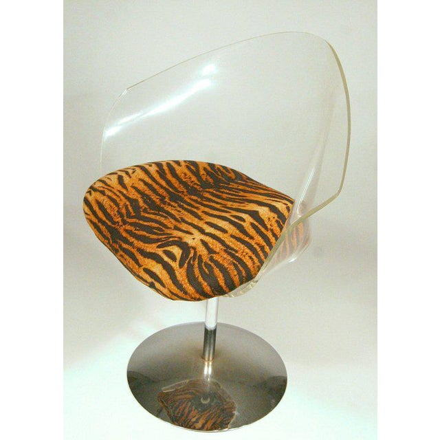 Charles Hollis Jones Charles Hollis Jones Lucite and Chrome Swivel Chairs For Sale - Image 4 of 9