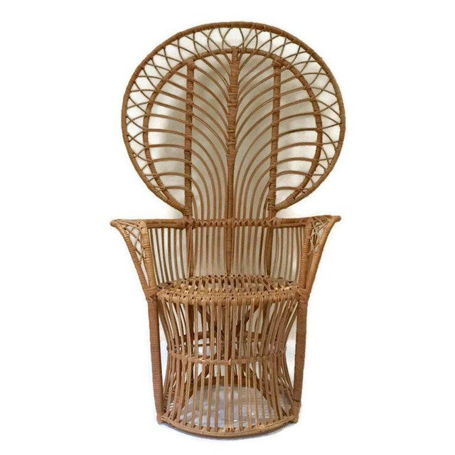 Mid Century Franco Albini Style Peacock Chair Bent Bamboo Fan Back Chair For Sale - Image 9 of 11