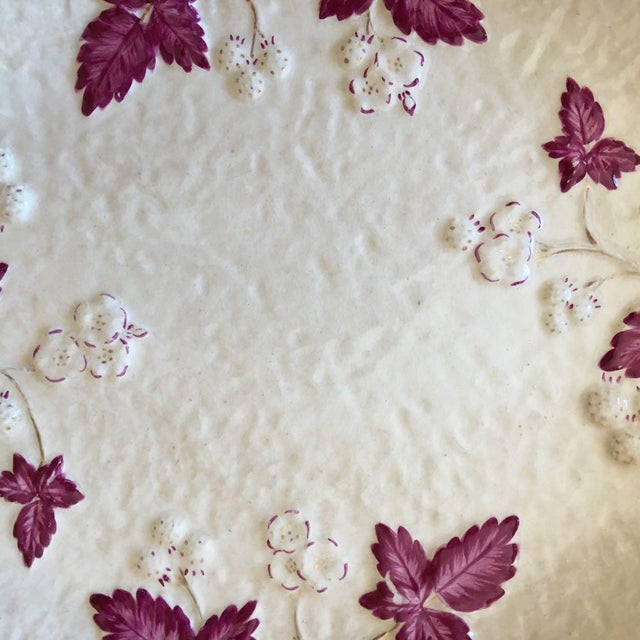 Antique Chesapeake Pottery David Haynes Faience Majolica Raspberries Platter For Sale In Raleigh - Image 6 of 9