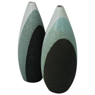 1970s Volcanic Glaze Pottery Vases by Ettore Sottsass Bitossi Raymor, Italy Pair For Sale