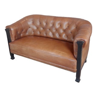 Fabulous Vintage English Library Sofa W/Tufted Brown Leather For Sale