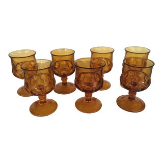 1970's Vintage Amber Vintage Glassware- Set of 7 For Sale