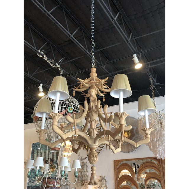 Vintage Chinoiserie Tropical Palm Beach Carved Wood Pagoda Monkey Tassels Bells Chandelier For Sale - Image 11 of 11