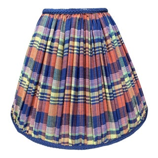 Madras Plaid Shirred Blue and Orange Lampshade For Sale