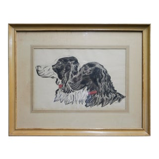 1940's English Springer Spaniel Original Framed Art For Sale