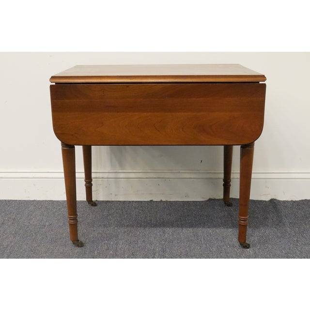 20th Century Tradiitonal Statton TruType Americana Solid Cherry Drop Leaf Pembroke End Table For Sale - Image 4 of 13