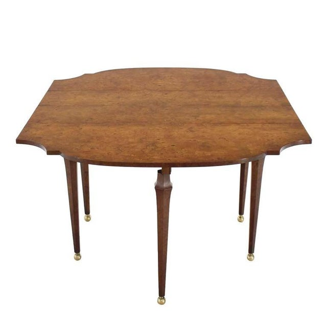 Burl Wood Drop Leaf Dining Table on Brass Balls Feet For Sale In New York - Image 6 of 8