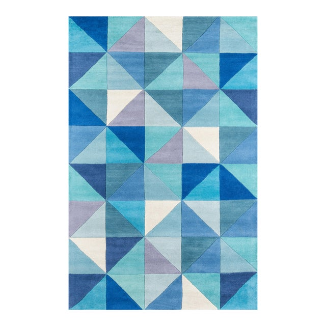 Contemporary Momeni Delhi Hand Tufted Blue Wool Area Rug - 5' X 8' - Image 1 of 6