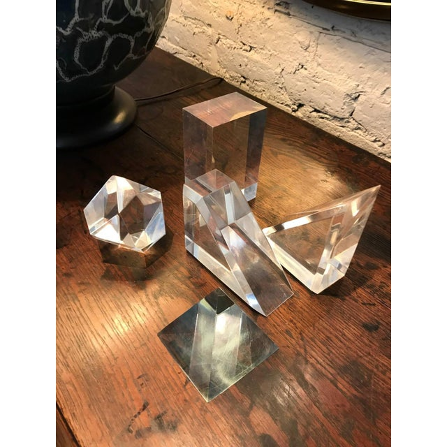 Set of Five Lucite Decorative Geometric Sculptures For Sale - Image 9 of 11