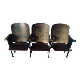 1910 Antique Bank of Six Convertible Theater Seats