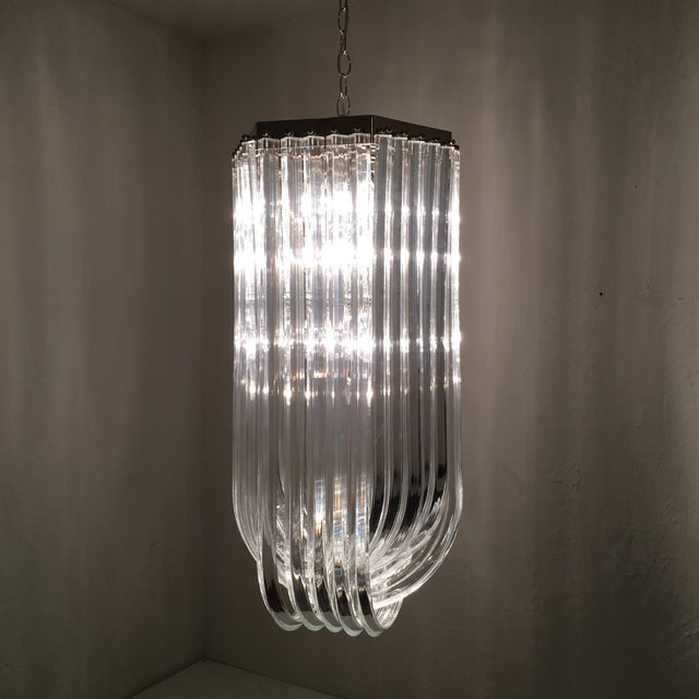 Art Deco Lucite Ribbon Chandelier For Sale - Image 3 of 10