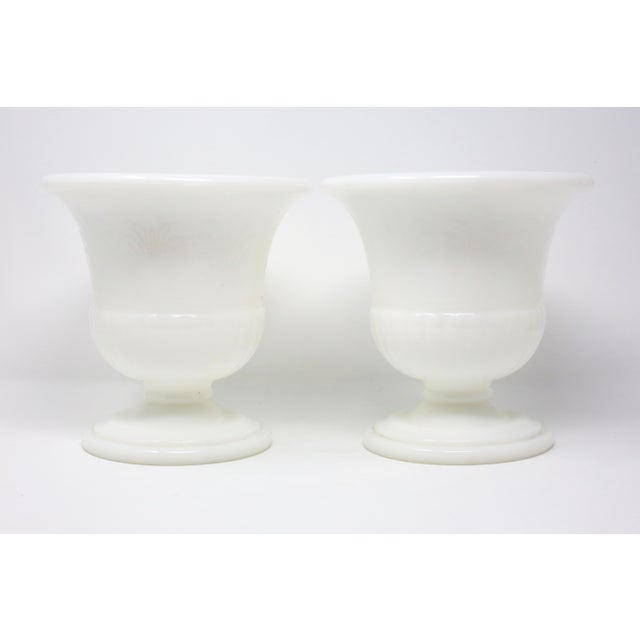 Vintage White Milk Glass Embossed Fleur De Lis Urns - a Pair For Sale In Tampa - Image 6 of 10
