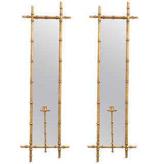 Pair of Gilt Metal Faux Bamboo Mirrored Candle Sconces For Sale