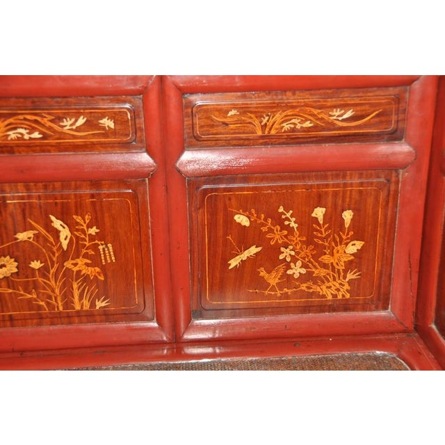 Antique Qing Dynasty Gilt Decorated Red Lacquered Opium Bed With Inlaid Panels For Sale - Image 4 of 11