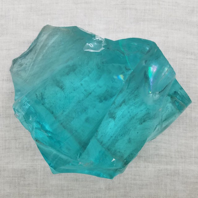 Nautical Aqua Slag Glass Sculpture For Sale - Image 3 of 8