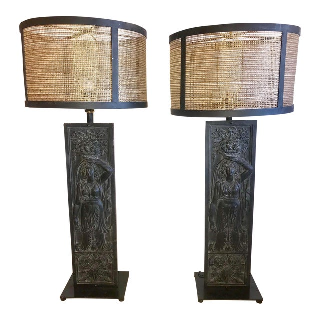 Late 19th Century Antique Iron Table Lamps - A Pair For Sale