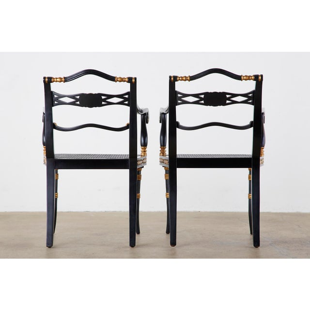 Pair of Regency Style Lacquered Armchairs by Theodore Alexander For Sale - Image 12 of 13