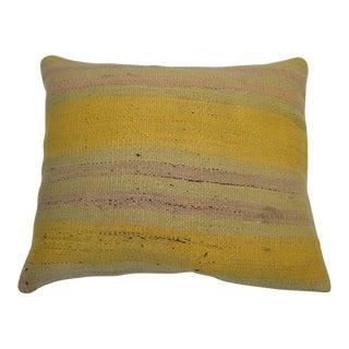 Yellow Turkish Kilim Rug Pillow For Sale