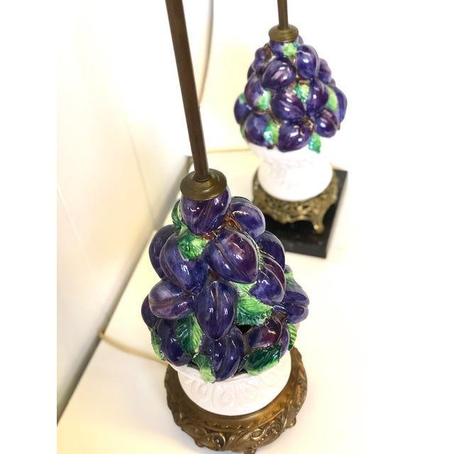 Friendly Vintage Italian Ceramic Fruit Topiary Lamps - a Pair For Sale In Atlanta - Image 6 of 13