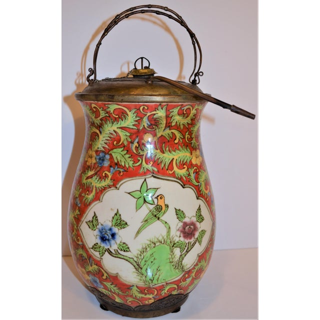 John-Richard Red Chinoiserie Porcelain and Brass Urn For Sale - Image 4 of 10