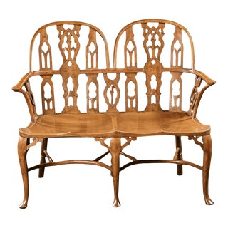 A Rare Double Back Yew Wood Windsor Settee For Sale