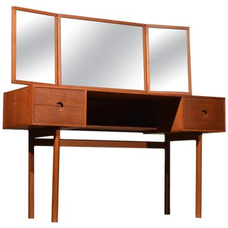 Kai Kristiansen for Aksel Kjersgaard Teak Vanity With Folding Mirror For Sale