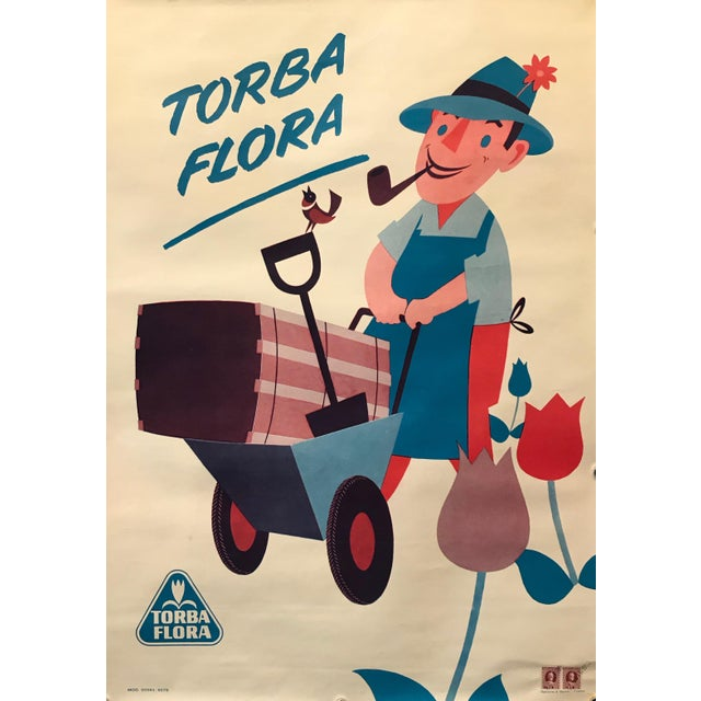 1960s Italian Agricultural Poster, Torba Flora (Man on a Tractor) For Sale - Image 4 of 9