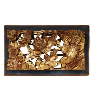 Antique Chinese 3d Wood Carving Gold Flake Panel For Sale