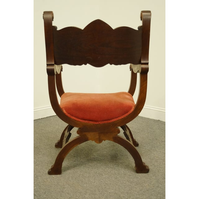 Red 1920's Antique Jacobean Gothic Revival Carved Accent Arm Chair For Sale - Image 8 of 10