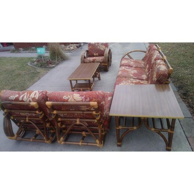 Paul Frankl Vintage Mid Century Paul Frankl Style Pretzel Arm Rattan Bamboo Sofa - Set of 5 For Sale - Image 4 of 13