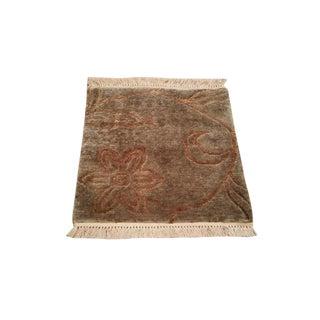 "Modern Wool & Silk Handmade Knotted Rug - 1'6"" X 1'6"" - Size Cat. 2x3"