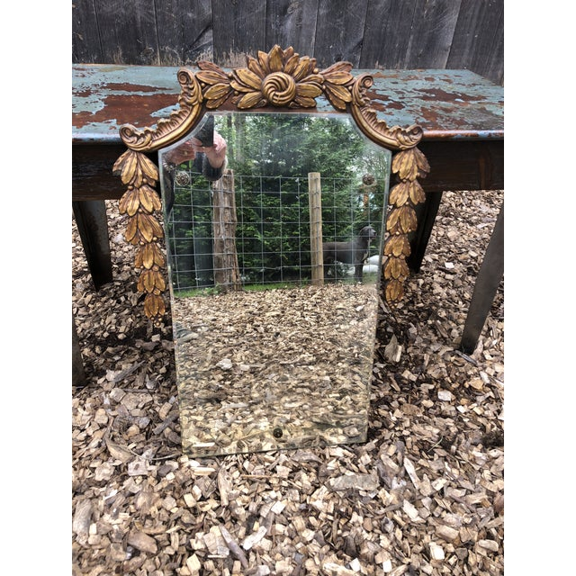 Wood Antique Wall Mirror With Giltwood Garland For Sale - Image 7 of 12