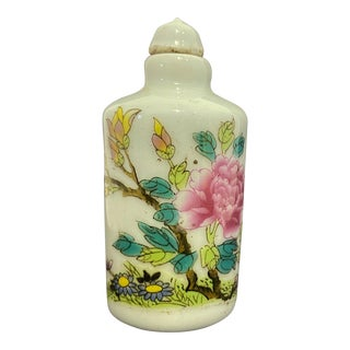 "Old Chinoiserie Porcelain Famille Rose Snuff Bottle 3."" H For Sale"