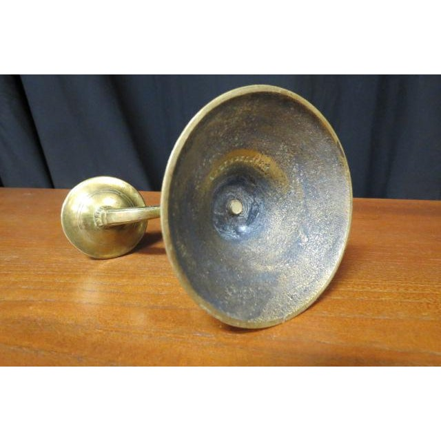 Antique 1930s Belgium Solid Brass Double Candlestick For Sale - Image 4 of 6