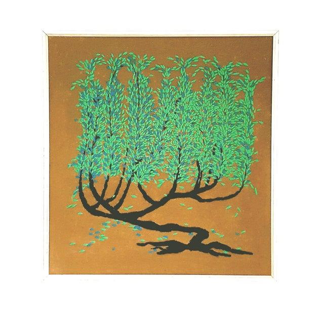 Vintage Framed Tree of Life Textile Art - Image 1 of 3
