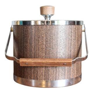 Vintage Mid Century Chrome and Woodgrain Look Ice Bucket by Kromex For Sale