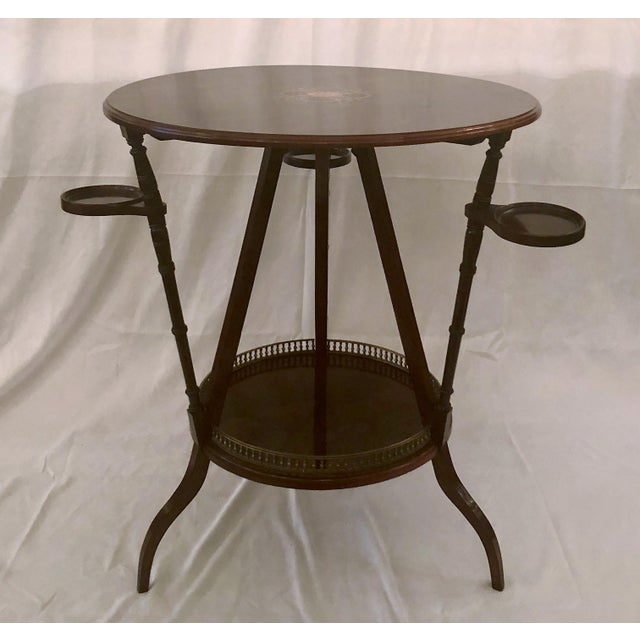 Unusual Antique Rosewood Side Table With Delicate Inlay and Coasters, Circa 1860-1870.