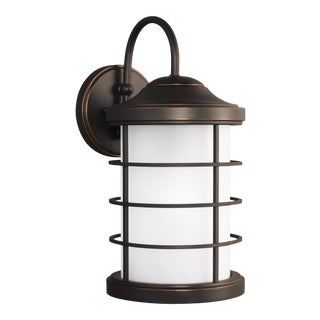 August Large One Light Outdoor Wall Lantern, Bronze For Sale