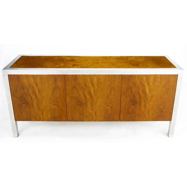 Mid-Century Modern Pace Collection Koa Wood and Polished Steel Cabinet For Sale - Image 3 of 9