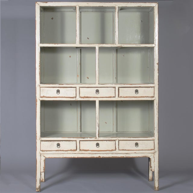Brass Chinese Open Shelf Cabinet with Cream Colored Lacquer Finish For Sale - Image 7 of 7
