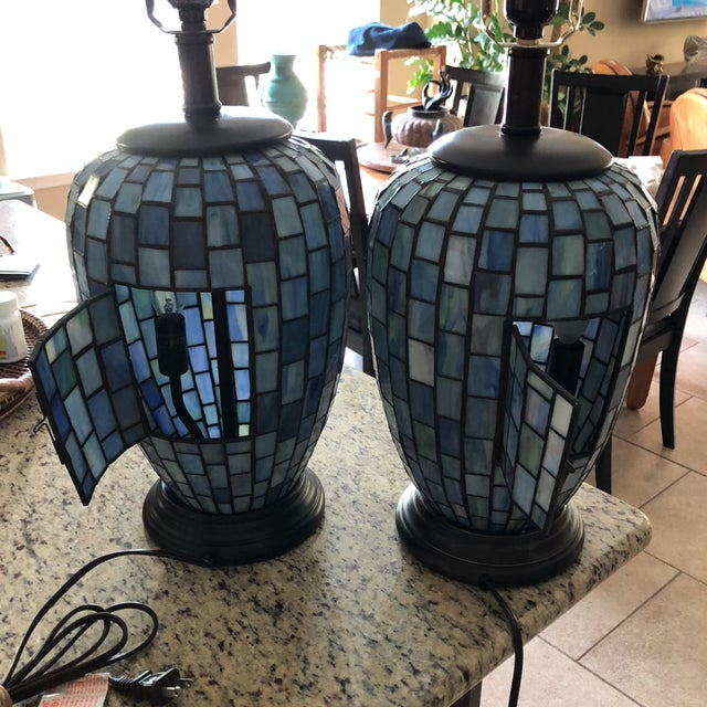 Blue Arts and Crafts Geometric Blue Stained Glass Lamps - a Pair For Sale - Image 8 of 13