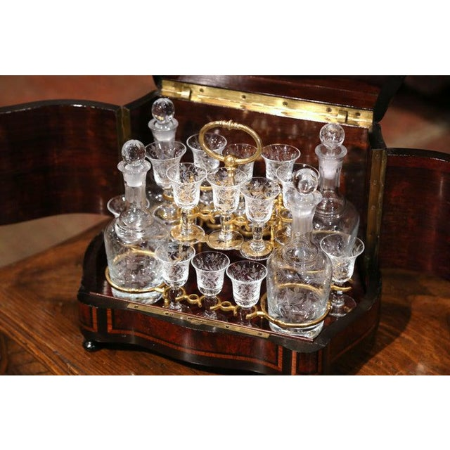 19th Century French Napoleon III Walnut and Burl Complete Cave a Liqueur For Sale - Image 9 of 13