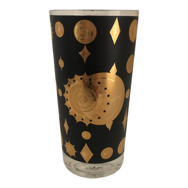 Fred Press Atomic Starburst/Eclipse Pattern Highball Glass For Sale