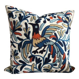Mediterranean Floral & Bird Embroidery Decorative Pillow Cover - Made in Greece For Sale