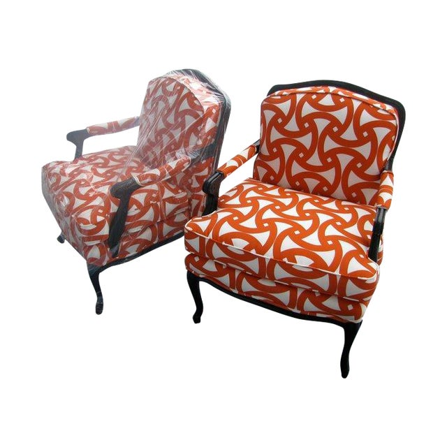 French Style Orange Bergere Chairs & Ottoman - S/3 - Image 1 of 6