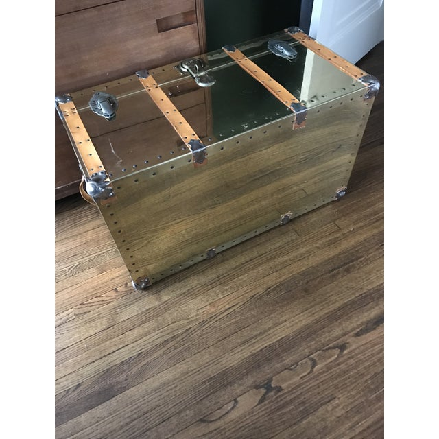 Vintage Brass Trunk With Leather Strapping For Sale - Image 9 of 10