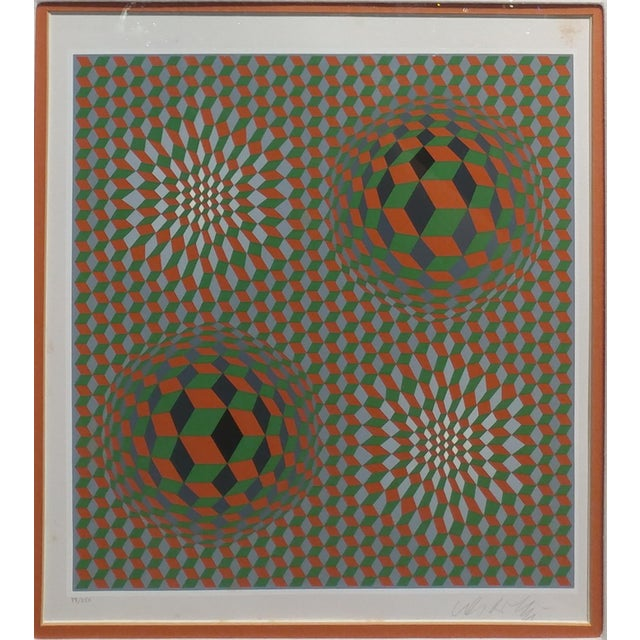 Victor Vasarely - Geometric Abstract - Signed Vintage Serigraph Pencil Signed and numbered -Edition of 250 Frame size 20 x...